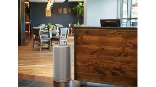 The Metallic Series 15 Gallon FGCC16 Indoor Waste Container has a sleek design that blends nicely with upscale interiors.