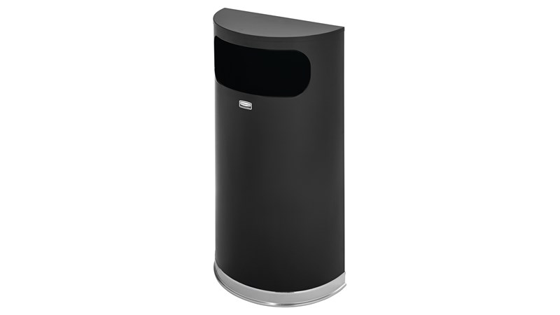 The Half Round 34 l FGSO8 Indoor Waste Container is made from heavy-gauge, fire-safe steel in a half-round design that fits flush against walls to conserve space. The sleek and functional design of this receptacle blends nicely with upscale interiors