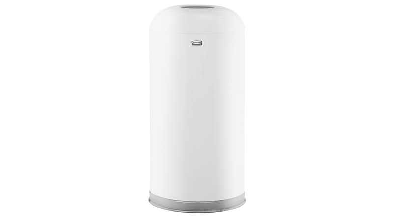 Featuring a classic, round top design, the Round Top 15 Gallon FGR32 Round Top Decorative Indoor Waste Container is constructed from heavy-gauge, fire-safe steel and complies with OSHA standards.