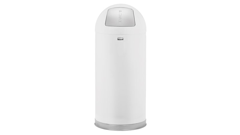 Mit seinem klassischen Rundaufsatz ist dieser Abfallbehälter (FGR1536) für Innenräume ein dekorativer Hingucker. Er ist aus hochfestem, flammensicheren Stahl gefertigt und OSHA-konform.