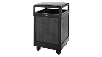 The Dimension Series decorative outdoor waste container's perforated steel panels create an upscale, dimensional look that complements contemporary outdoor enviornments.