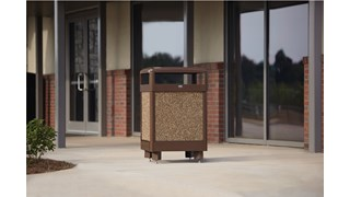 The Aspen container's stone panels help it naturally blend into any outdoor environment. The heavy-gauge steel construction is designed to withstand harsh weather conditions to provide years of reliable outdoor service.