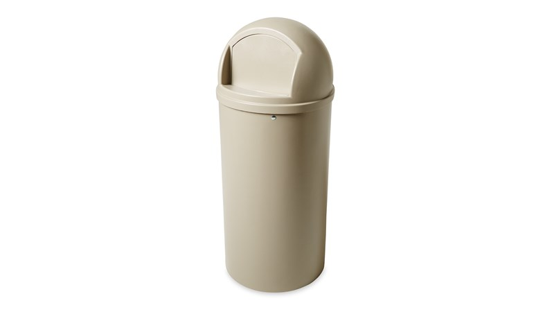 The Rubbermaid Commercial Marshal® Classic Waste Bin with Retainer Bands features a domed and textured top.