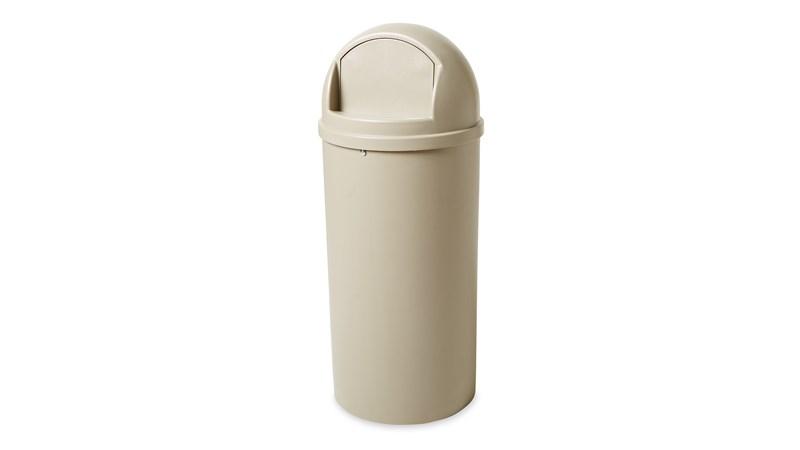 De Marshal® Classic vuilnisbak van Rubbermaid Commercial met zakhouder is voorzien van een koepelvormige en getextureerde deksel.