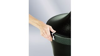 The Rubbermaid Commercial Aladdin Smoker's Station® features a galvanised steel liner with handle for easy disposal.
