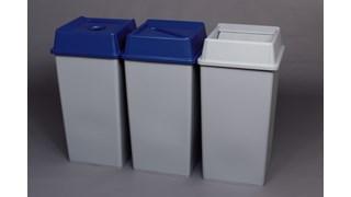 Die stationären Behälter ermöglichen eine bequeme zentrale Sammelstelle für mehrere Arbeitsplätze oder Bereiche.