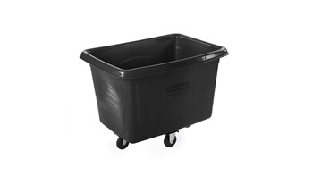 The Rubbermaid Commercial 14 cu ft Cube Truck is part of a full line of Cube Trucks assisting in waste collection, material transport, and laundry handling.