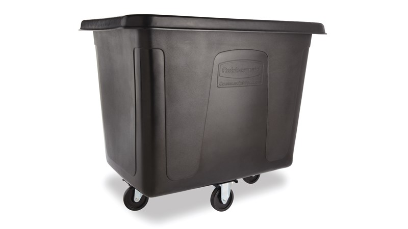 The Rubbermaid Commercial 16 cu ft Cube Truck is part of a full line of Cube Trucks assisting in waste collection, material transport, and laundry handling.