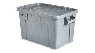 The Rubbermaid Commercial BRUTE® Tote Storage Bin with Lid is a heavy-duty storage container. Ideal for the food service industry, these plastic food storage containers are NSF-certified for use in food handling and processing.