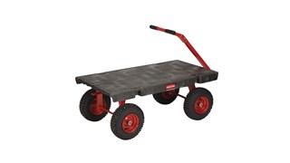 Le chariot à timon Rubbermaid permet à l'essieu avant de pivoter facilement, ce qui assure une maniabilité supérieure.
