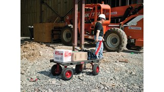 The Rubbermaid Commercial Fifth-Wheel Wagon Truck allows the front axle to easily pivot, providing the hand truck with superior maneuverability.