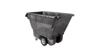 The Rubbermaid Commercial Tilt Dump Truck, Structural Foam, offers industrial strength construction to transport heavy loads up to 1250 lbs.