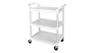 The Rubbermaid Commercial Utility Cart features easy-to-clean smooth surfaces, swivel castors for easy mobility, and user-friendly easy to grip handles.