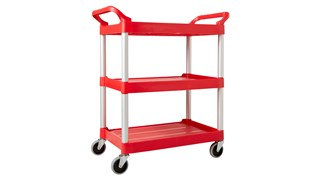 Ce chariot utilitaire Rubbermaid est doté de surfaces lisses faciles à nettoyer, de roues pivotantes simplifiant les manœuvres et de poignées ergonomiques.