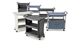De Rubbermaid Commercial Executive Series materiaalwagen brengt het uiterste in stijl, duurzaamheid en functionaliteit voor de gebruikers.