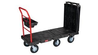 Der Plattformwagen von Rubbermaid Commercial hat ein Maß von 61x132cm, 20-cm-Luftreifen, eine Traglast von 340kg als Wagen, von 454kg als Plattformwagen