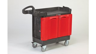 The Rubbermaid Commercial TradeMaster Cart with Cabinet is a total tool storage and mobile workbench system.