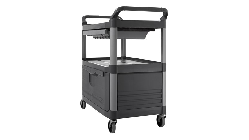 The Rubbermaid Commercial Xtra Instrument and Utility Cart is a rolling utility cart with two shelves, a lockable cabinet and a s Liding drawer.