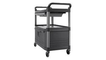 Service Cart withLockable Doors and S Liding Drawer, Grey