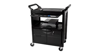 The Rubbermaid Commercial 2-Shelf Utility Cart with Cabinet and S Liding Drawer features all-plastic construction make this wheel cart durable and easy to maintain.