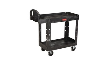 Heavy Duty Ergo Handle Utility Cart,Lipped Shelf, Medium, Black