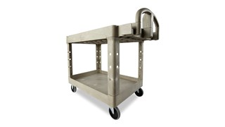 The Rubbermaid Commercial Heavy-Duty Utility Cart with 2 Lipped shelves, Medium, is a versatile, durable cart that can transport up to 500 lbs.