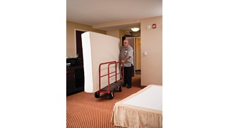The Rubbermaid Commercial Sheet and Panel Truck has a 907kg capacity and features built-in tie-down slots to secure loads while moving them and a textured surface greatly reduces slippage.