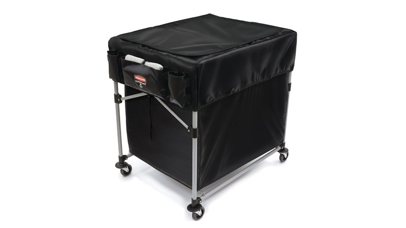The Rubbermaid Commercial Cover for Collapsible X-Cart features multiple storage compartments to keep frequently used tools and cleaning supplies within reach.
