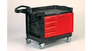 Der TradeMaster-Mehrzweckwagen mit 4 Schubladen von Rubbermaid Commercial ist ein mobiler Arbeitsplatz: Werkzeuge und Zubehör werden problemlos dorthin transportiert, wo Sie es benötigen.