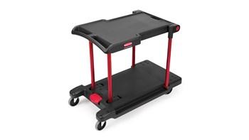 Ce produit Rubbermaid est un chariot utilitaire résistant et utile à plusieurs activités.