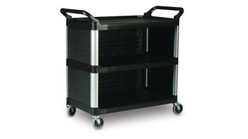 The Rubbermaid Commercial Xtra Utility Cart is ideal for providing table service or similar tasks.
