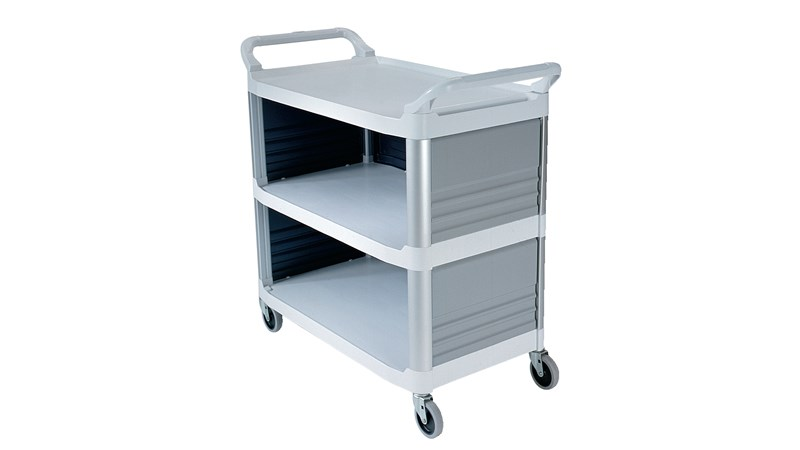 The Rubbermaid Commercial Xtra Utility Cart with Enclosed End Panels is ideal for providing table service and similar tasks.