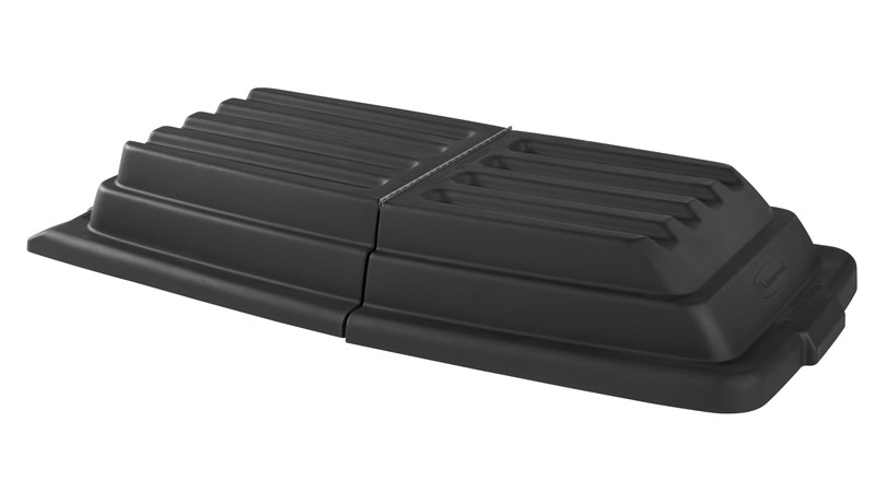 The Rubbermaid Commercial Tilt Truck Dome Lid keeps materials secure inside the truck.