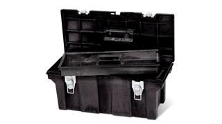 La boîte à outils de qualité professionnelle Rubbermaid est destinée à l'usage commercial/industriel.  Sa fabrication en mousse structurée robuste prévient la formation de rouille, d'entailles, d'éclats et d'écailles.