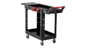 The Heavy Duty Adaptable Cart from Rubbermaid Commercial provides superior versatility for tackling whatever task is at hand.  It reduces the need for time-consuming user modifications with a variety of integrated features including: an ergonomic adjustable handle with four positions for maximum comfort, a flip-up shelf, locking castors, and numerous storage features designed to help organise tools and small parts.