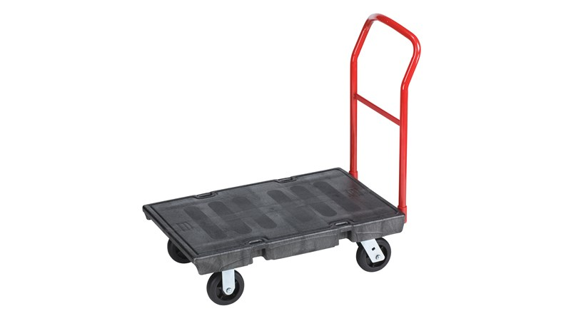 The Rubbermaid Commercial Heavy-Duty Platform Truck is constructed from Duramold resin and metal composite for durability and strength. The trolley has a 454kg capacity.