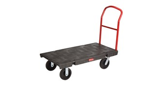 The Rubbermaid Commercial Heavy-Duty Platform Truck is constructed from Duramold resin and metal composite for durability and strength. The platform truck cart has a 907kg capacity.