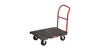 The Rubbermaid Commercial Heavy-Duty Platform Truck is constructed from Duramold resin and metal composite for durability and strength.