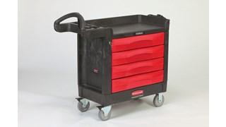 Der TradeMaster-Mehrzweckwagen von Rubbermaid Commercial transportiert Werkzeuge und Zubehör problemlos dorthin, wo Sie es brauchen.