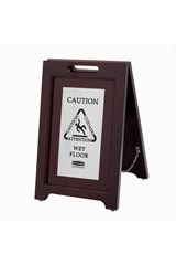 """Executive Series™ 56cm Wooden Multilingual """"Caution"""" Sign, 2-Sided, Silver"""