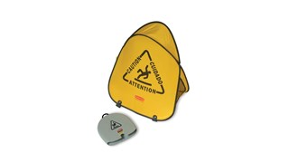 Large cone folds with a simple twist and slides into compact shell for handy storage. Multilingual safety communication utilizes ANSI/OSHA-compliant Colour and graphics.