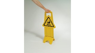 """Unique """"no tip"""" design is 2-sided for effective multilingual safety communication that utilizes ANSI/OSHA-compliant Colour and graphics."""