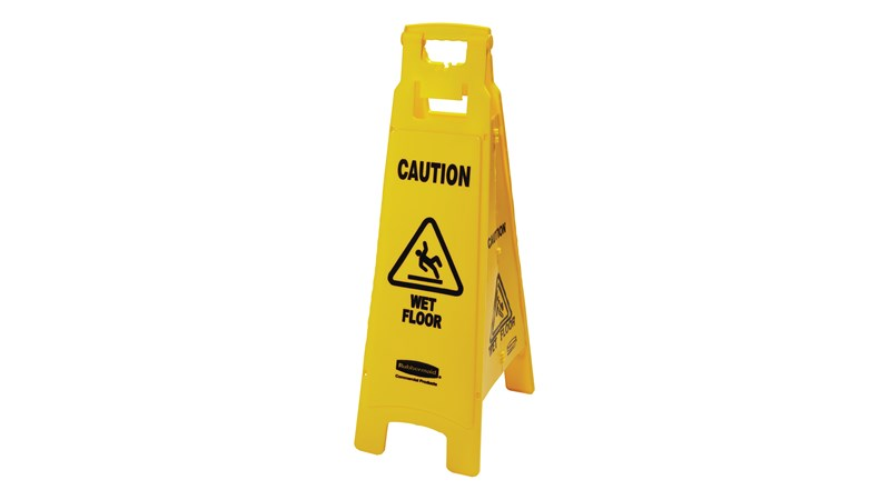 "This  Lightweight ""Caution Wet Floor"" sign is 4-sided for effective safety communication and utilizes ANSI/OSHA-compliant colour and graphics."