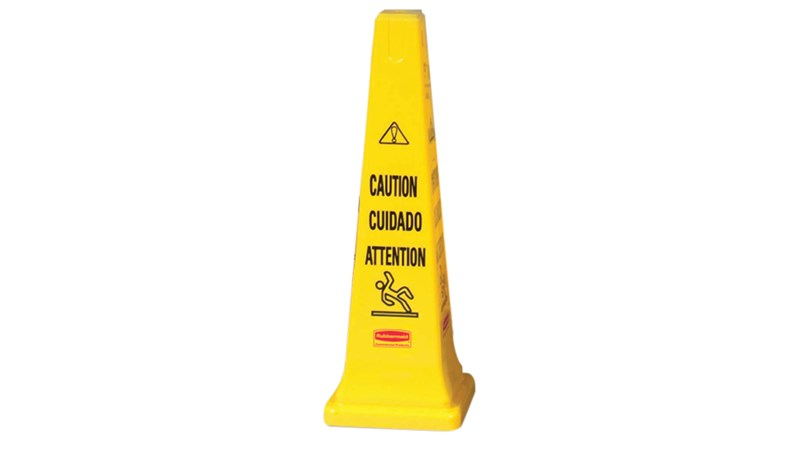 "Highly visible, 36"", bright yellow hazard protection cone. Multilingual safety communication utilizes ANSI/OSHA-compliant Colour."