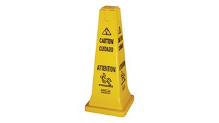 "Highly visible, 25"", bright yellow hazard protection cone. Multilingual safety communication utilizes ANSI/OSHA-compliant Colour."