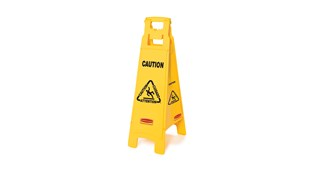 "Lightweight ""Caution"" sign is 4-sided for effective multilingual safety communication and utilizes ANSI/OSHA-compliant Colour and graphics."