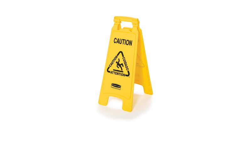 """Lightweight """"Caution"""" sign is 2-sided for effective multilingual safety communication and utilizes ANSI/OSHA-compliant Colour and graphics."""