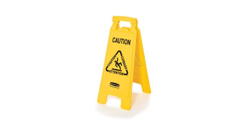 """Das 2-seitige leichte """"Caution""""-Warnschild (Vorsicht!) sorgt für eine effektive mehrsprachige Sicherheitskommunikation in ANSI-/OSHA-konformer Farbe und Grafik."""