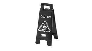 """Sleek, lightweight """"Caution"""" sign is 2-sided for effective multilingual safety communication that won't disrupt a building's image."""