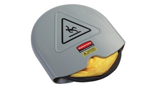 Large cone folds with a simple twist and slides into compact shell for handy storage. International Wet Floor Symbol communication utilizes ANSI/OSHA-compliant Colour and graphics.